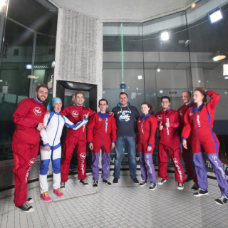 Team in aerotube